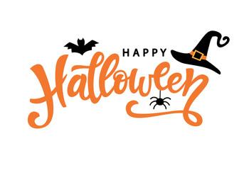 Happy Halloween typography poster with handwritten calligraphy text Fotoväggar