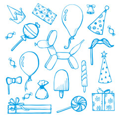 Balloons and gifts hand drawn. Vector illustration in a sketch style
