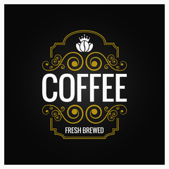 coffee logo vintage label design background