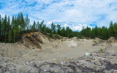 Big sand quarry in Karelia.