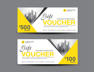 Yellow Gift Voucher template layout, business flyer design, polygon background, coupon, ticket, Discount card, banner vector illustration