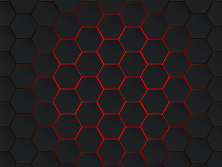 Dark gray and red hexagons modern geometrical vector abstract background. Polygon concept with modern efect for technology banner.