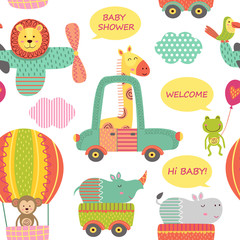 seamless pattern with baby jungle animals in transport  - vector illustration, eps