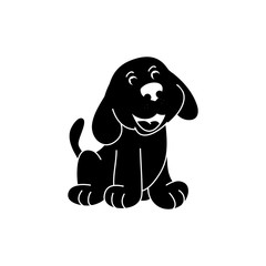 Black silhouette of a puppy on white background, vector illustration