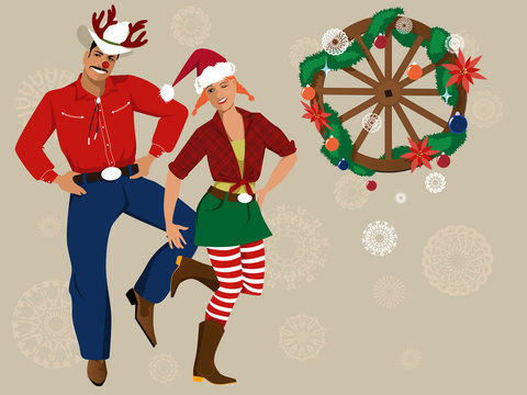 Cowboy and cowgirl in Christmas hats, decorated wagon wheel and snowflakes on the background, EPS 8 vector illustration