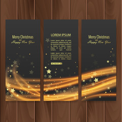 Christmas banners set on wood substrate. Vector eps 10