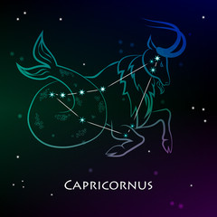 Capricornus ( Capricorn ) - one of the constellations of the zodiac and  the astrological sign against a dark starry sky. Vector illustration on a black background