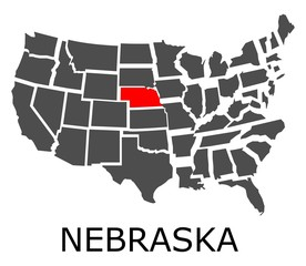Bordering map of USA with State of Nebraska marked with red color.