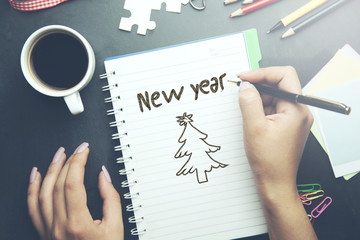 woman written new year text