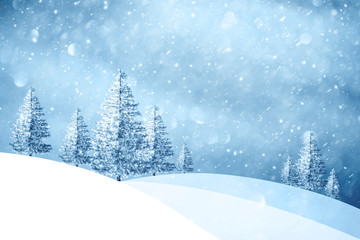 Magic winter snowfall landscape with snowy trees on the hills. Christmas and New Year holiday greeting card illustration background.