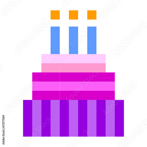 Birthday Cake Pixel Art Cartoon Retro Game Style Stock