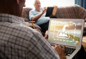 Senior Citizen with Laptop Mockup 2