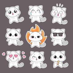 Set of cute cat character with emotions. Vector cat
