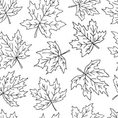 Beautiful seamless doodle pattern with black and white maple leaves sketch. design background greeting cards and invitations to the wedding, birthday, mother s day and other seasonal autumn holidays