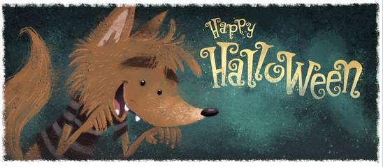 niño hombre lobo en halloween