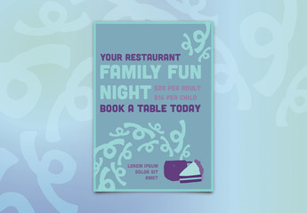 Restaurant Poster Layout with Food Illustrations 1