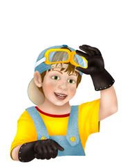 Boy in helmet - future winner.