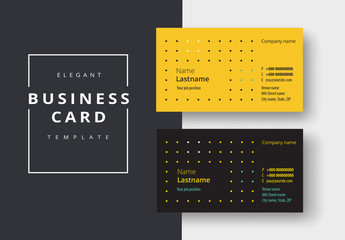 Business Card Layout in Black and Yellow