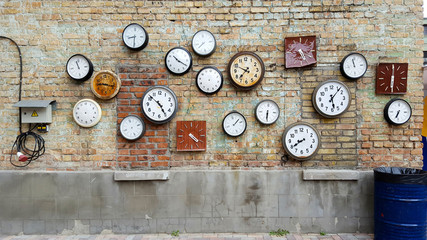 Clock on a brick wall