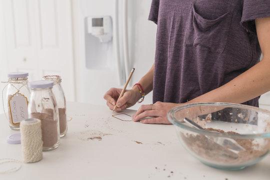 Preparing Homemade Hot Cocoa Mix as a Gift