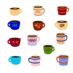 Coffee set. Mugs. Vector illustration.