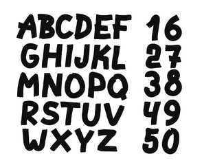 Hand drawn letters and numbers font