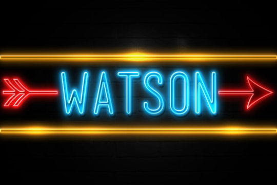 Watson  - fluorescent Neon Sign on brickwall Front view