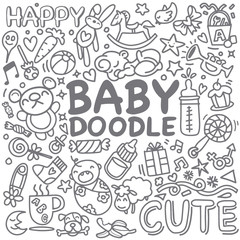 Sketchy vector hand drawn Doodle cartoon set of objects and symbols on the baby theme