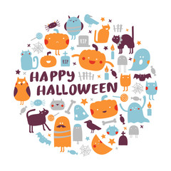 Halloween icon set in a circle shape. Halloween concept with traditional holiday symbols: pumpkins, ghosts, spiders, cats. Round vector illustration.