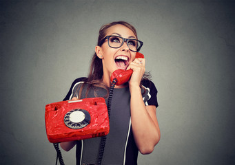 Laughing happy woman on the phone