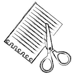 scissors school with notebook paper vector illustration design