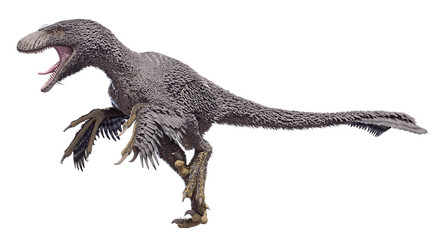 3D rendering of a Dakotaraptor isolated on a white background.