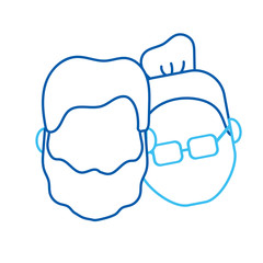 line avatar couple head with hairstyle design vector illustration