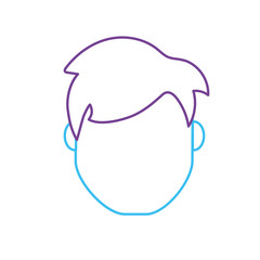 line avatar man head with hairstyle design vector illustration