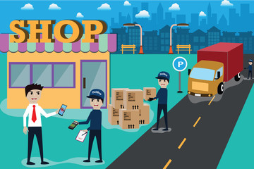 Smart service,Delivery by  truck and pay with e-payment - vector