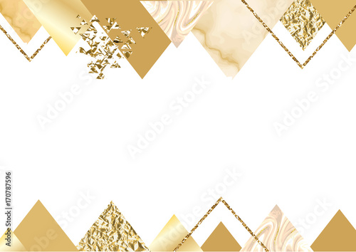 Golden invitation or brochure banner marble background in trendy golden invitation or brochure banner marble background in trendy minimalistic geometric style with triangles stopboris Choice Image