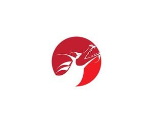 Head dragon flat color logo template vector illustration