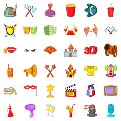 Gallery icons set, cartoon style