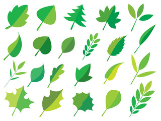 green Leaves icon set separated from white background,Vector illustration