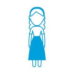 avatar woman with swiss dress icon over white background vector illustration