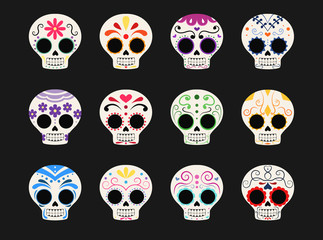 Set of twelve different sugar skulls