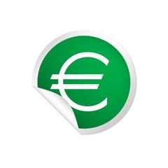 runder Sticker grün - Euro
