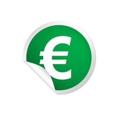 runder Sticker grün - Eurozeichen