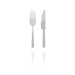 Reflektierendes Symbol mit Glanz - Messer und Gabel