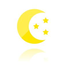 Reflektierendes Symbol mit Glanz - Mond und Sterne