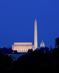 Washington, DC skyline at night (Lincoln Memorial, Washington Monument, and the US Capitol building) - Washington, DC USA