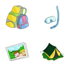 Travel, vacation, backpack, luggage .Family holiday set collection icons in cartoon style vector symbol stock illustration web.