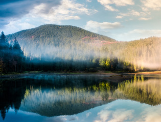 gorgeous foggy sunrise on the lake in forest. lovely autumnal landscape in mountains