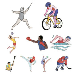 Sports icon in set collection on cartoon style vector symbol.