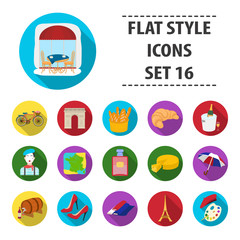 France country set icons in flat style. Big collection of France country vector symbol stock illustration